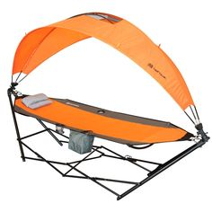 Driftsun Portable Lawn, Patio and Camping Hammock with Canopy For Sun Protection and Comfort, Orange (Nylon), Patio Furniture