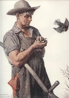 """Farmer and Birds"" by Norman Rockwell. Yes, Rockwell definitely goes on my list of people I admire. Norman Rockwell Prints, Norman Rockwell Paintings, The Saturdays, Munier, Retro, Famous Artists, Beautiful Artwork, Oeuvre D'art, American Artists"