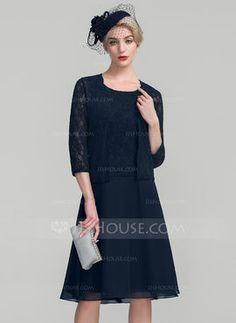 A-Line/Princess Scoop Neck Knee-Length Chiffon Lace Mother of the Bride Dress (008114228) - Mother of the Bride Dresses - JJsHouse