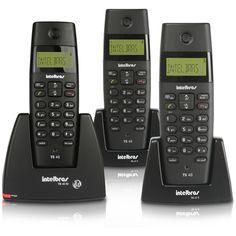 Telefone s/ Fio DECT 6.0 c/ Identificador de Chamadas, Gerenciador de Chamadas em Espera e em Conferência, Função Alarme e Agenda p/ até 70 contatos - TS40 + 2 Ramais s/ Fio - TS40R - TS40 TRIO Intelbras - Americanas.com