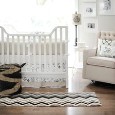 This #taupe #crib set is perfect for a #white or #neutral #nursery.