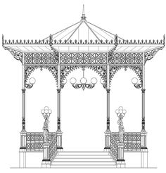 The first cast-iron gazebo, designed by Domenico Neri. Gothic Architecture Drawing, Indian Temple Architecture, Mughal Architecture, Muebles Estilo Art Nouveau, Iron Pergola, Drawing Furniture, Bg Design, Abstract Painting Techniques, Outdoor Furniture Plans