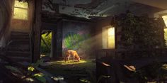 Hide and Seek by Pavel Proskurin (interior) Apocalypse Art, Apocalypse Survival, Post Apocalyptic Art, Zombie Girl, Types Of Art, Type Art, Abandoned Places, Concept Art, Scenery