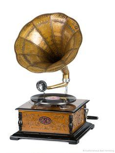 Nostalgie Grammophon Schellackplatte Gramophone Trichtergrammophon antik Stil | eBay
