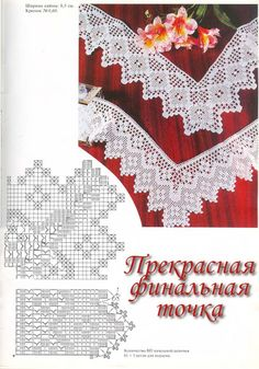 Victoria - Handmade Creations: Designs for Knitted lace, corners and atrante Filet Crochet, Crochet Quilt, Crochet Trim, Crochet Motif, Crochet Lace, Crochet Stitches, Tatting Patterns, Doily Patterns, Crochet Patterns