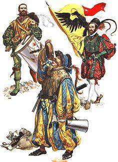 • Drummer, 1525 • Landsknecht, c. 1553 • Ensign of Nuremberg, 1550