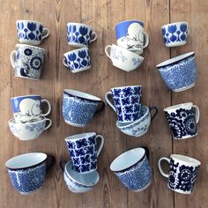 Coffee cups. Blue and white china. Finnish design. Arabia Finland. Rorstrand. Nordic living. Coffee moment. By Johanna Sandberg.