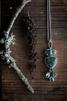 Wilderness Culture - Double Ocean Jasper and Pine Cone Necklace by Carin Jones