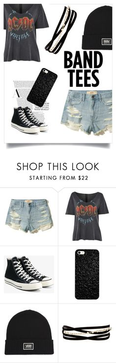 """""""Band Tees"""" by color-in-september ❤ liked on Polyvore featuring Hollister Co., Topshop, Converse, Vans, Kenneth Jay Lane, bandtees and polyvorecontest"""