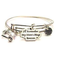 BANGLE SET ILL REMEMBER MY MOMS HUGS FOREVER BRACELETS
