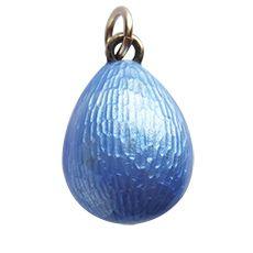 Antique Light Cornflower Blue Enamel Easter Egg Charm Pendant | Silver Star Charms