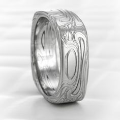 Damascus Steel Square Ring Hand Crafted Twisted Burl Alternative Wedding