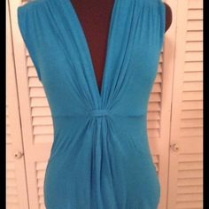 Beautiful blue top.               JUST REDUCED Gathered front under Bust.  Excellent condition Cha Cha Vente Tops