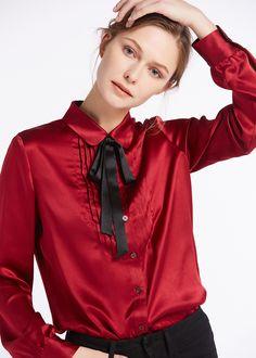 6e67d142638063 22MM Bib Collar Barrel Sleeve Silk Shirts Silk Shirts
