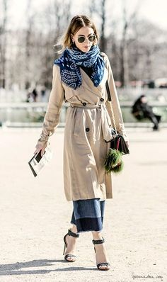 trench coat, cropped jeans, indigo scarf,