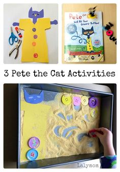 "3 FUN ""Pete the Cat"" groovy buttons book extension activities from LalyMom your kids will love! Not only is the book fun, but the activities are loads of fun! Learning and fun go together, and with Pete the Cat, you have both! #petethecat #bookactivities #activitiesforkids #booksforkids #kidsbooks #activitiesforkids"