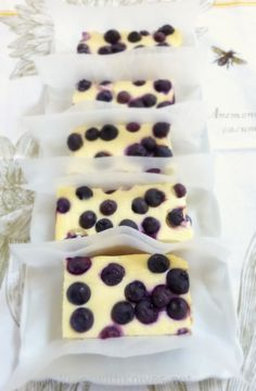 Blueberry Lemon Cheesecake Bars by Wives with Knives.