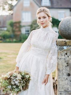 French lace and silk long sleeved wedding dress by Joanne Fleming Design for a summer bride, flowers by Martha & the Meadow, photo by Mariel Hannah wedding dresses silk An English Summer Wedding Western Wedding Dresses, Long Wedding Dresses, Long Sleeve Wedding, Wedding Dress Sleeves, Boho Wedding Dress, Bridal Dresses, Wedding Gowns, Lace Dress With Sleeves, Summer Wedding