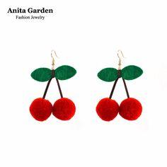 Cherry earrings for women hairball red dangle earrings Big drop earrings Christmas jewelry Anita Garden brand XR531