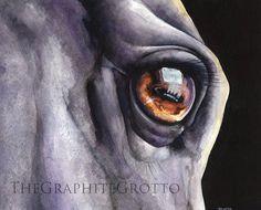 Horse Eye Watercolor Painting Original by GraphiteGirlsGrotto