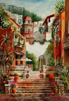 ART~  A Scenic Climb Up To The Old Italian Town~Rita Zaudke