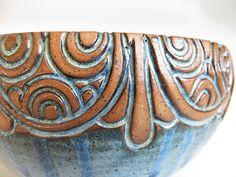 Hand Carved MultiRound Line Blue Bowl by EKSPottery on Etsy