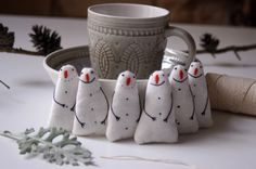 Holiday ornaments. A set of 6 snowman от adatine на Etsy