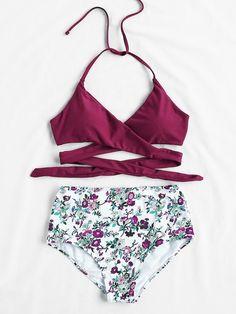 20b4a6c14b255 Calico Print High Waist Wrap Bikini Set   SHEIN Halterneck Bikini, Flounce  Bikini, Floral