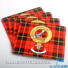 Clan Crest & Tartan Placemats 4 Pack *NEW* Scottish Clans Tartans Kilts Crests and Gifts