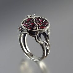 POMEGRANATE garnet silver ring. $380.00, via Etsy.