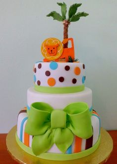 Jungle Themed Baby Shower Cake- Love the bow!! :-) I would like this one day