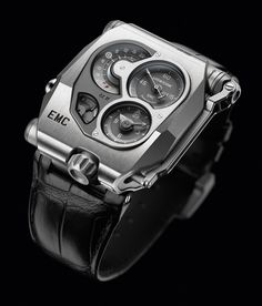 "URWERK EMC, a self-adjustable watch, with a special ""EMC"" caliber and double mainsprings, offering an 80-hour power reserve. It is indicated on the lower left of the dial with a large arrow on a plus/minus retrograde scale. (Best Power Reserve Indicators of 2013) - Hautetime"