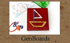 Easy to make geo boards with pdf file of cards for children to copy to print