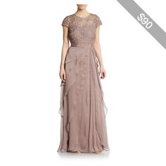 Adrianna Papell Lace Cap-Sleeve Layered Gown