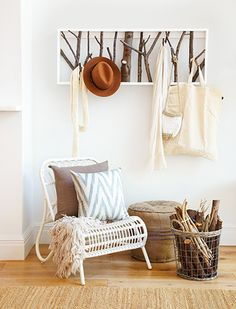 How to make a multipurpose rack: Have you twigged yet? Yes, it's a quirky multipurpose rack crafted from sticks. You may see a pile of branches and think of only firewood but, before striking a match, look again and visualise sturdy posts with built in pegs, ideal for hanging hats, bags and scarves.