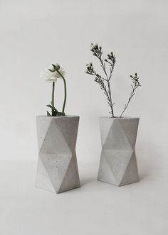 Concrete Geometric Minimalist Vase, geometrical concrete vase