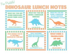 Just Peachy Designs: Free Printable Dinosaur Joke Lunch Notes