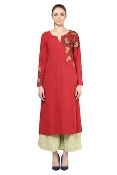 Berry red embroidered kurta Indian Fashion, Womens Fashion, Fashion Trends, Khadi Kurta, Sabyasachi Collection, Kurti Styles, Designer Punjabi Suits, Suits For Women, Ladies Suits