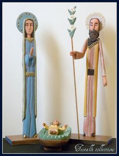 "Hand carved Nativity Set 12"" tall made in Venezuela"
