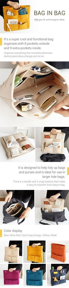 US$15.65 Bag in Bag Felt Casual Travel Multi-pockets Storage Bag Liner Package Cosmetic Bag