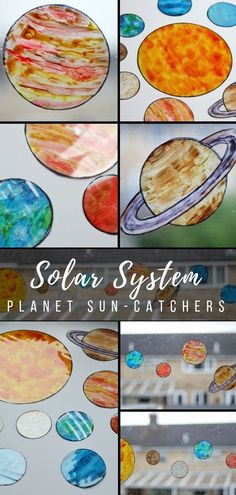 Solar System Sun-Catchers Craft - find out how to make transparent sun-catchers like each of the 8 planets in the solar system. This #space craft is great for children and adults and creates a beautiful piece of art to decorate a window when finished #spaceart #craftsforkids #crafting #solarsystem #suncatchers #planets
