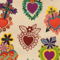 Custom Listing for NEW Sacred Heart- Alexander Henry Corazones Primavera Folklorico 1 Yard Fabric, listing Yards Sacred Heart Tattoos, Retro Tattoos, Japanese Tattoo Art, Mexican Folk Art, Heart Art, Artsy, Drawings, Alexander Henry, Tatoos