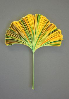 "GINKGO BILOBA, 3/8"" quilling paper, unmounted. Approximately 3.9 x 5.1 in / 10 x 13 cm. JUDiTH+ROLFE"