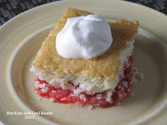 A gorgeous spring time dessert with tons of rhubarb and a hint of strawberry! So easy to make and everyone loves it! Rhubarb Dump Cake Recipe from Hot Eats and Cool Reads Just Desserts, Delicious Desserts, Yummy Food, Awesome Desserts, Yummy Yummy, Dump Cake Recipes, Dessert Recipes, Dessert Ideas, Yummy Recipes