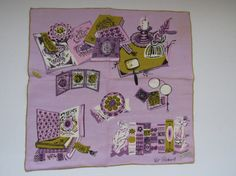 Pat Prichard Handkerchief - Lavender Hanky Hankie - Books Poems Desk - UNUSED with Original Tags - Collectible - Book Lovers - Gift