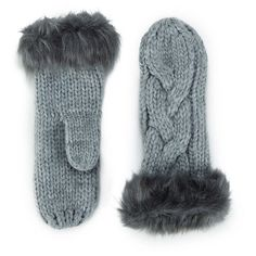ONLY Women's Allison Knit Mittens - Light Grey Melange ($5.19) ❤ liked on Polyvore featuring accessories, gloves, grey, gray gloves, knit mittens, mitten gloves, synthetic gloves and knit gloves