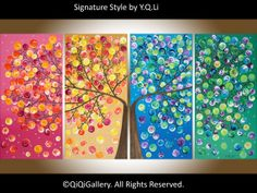 """Original art Large Abstract landscape painting  Impasto Painting four seasons Painting """"365 Days of Happiness"""" by qiqigallery"""
