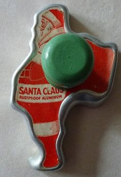 Old Santa Cookie Cutter...with it's original paper label and green wooden knob.