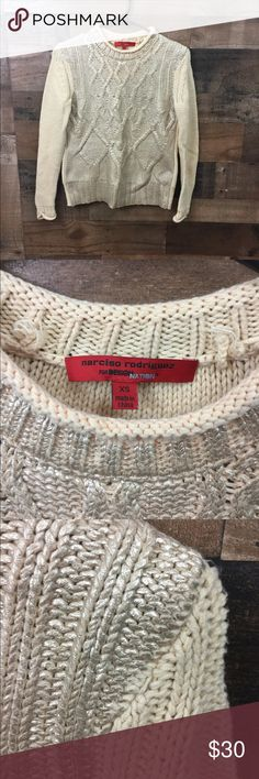Narcisco Rodriguez for Design Nation Knit Sweater Chunky knit sweater in natural/gold. Front is gold painted. Designer is Narcisco Rodriguez for Design Nation. Excellent condition, no rips, stains, or tears. Narciso Rodriguez Sweaters
