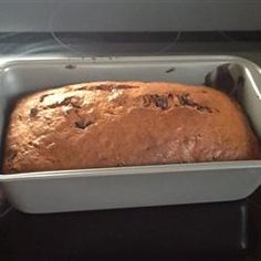 Banana Chocolate Chip Bread - really easy and simple recipe for banana bread.  The cinnamon adds a nice spice to it.  i made half without choc chips (my mom's request) and the other half with dark choc chips (my bf was OBSESSED with them).  I used a muffin tin rather than loaves and it yielded 16 muffins.  I used a larger cookie scoop to get even amounts of dough.  Really enjoyed these :)